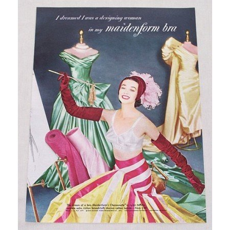 1955 Maidenform Chansonette Bra Color Print Ad