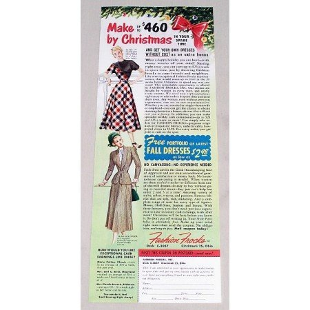 1949 Fashion Frocks Women's Fall Dresses Color Print Ad