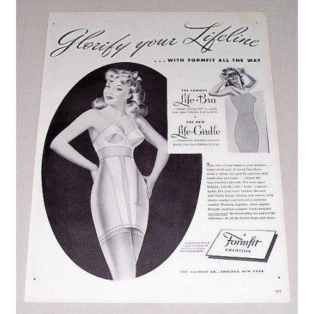 1946 Formfit Bra Girdle Set Print Ad - Glorify Your Lifeline