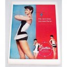 1956 Jantzen Parisian Swim Suit Color Print Ad