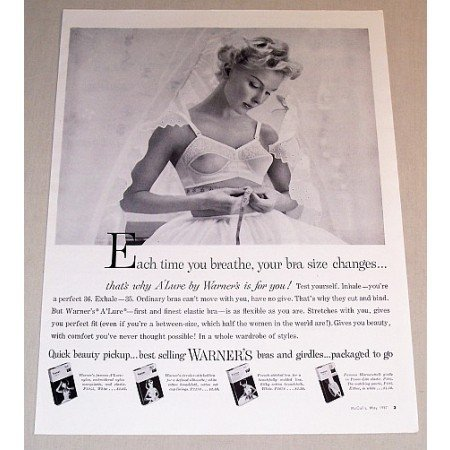 1957 Warner's A'Lure Bras and Girdles Print Ad