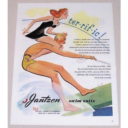 1945 Jantzen Swim Suits Hurst Art Color Print Ad