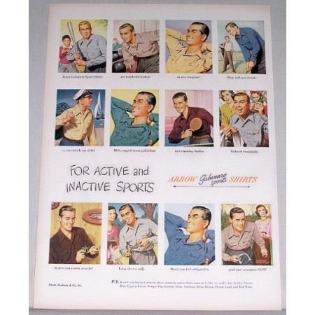 1948 Arrow Gabanaro Sports Shirts Color Print Ad