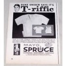 1956 Mayo Shirt Print Ad Baseball Celebrity Duke Snider