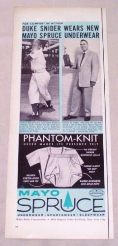 1955 Mayo Spruce Underwear Print Ad Baseball Celebrity Duke Snider