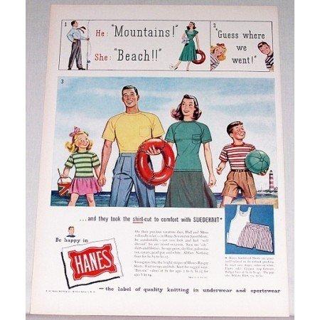 1948 Hanes Suedeknit Sport Shirts Color Print Ad