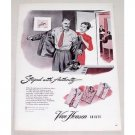 1946 Van Heusen Shirts Color Art Print Ad - Striped With Authority