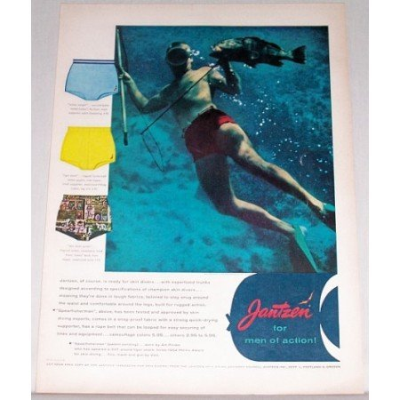 1955 Jantzen Skin Diver Men's Swimwear Color Print Ad