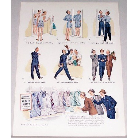 1940 Arrow Aroair Shirts Color Art Print Ad - Here You Are Fellows