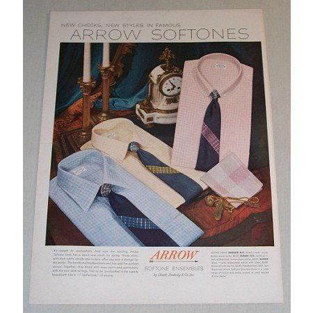 1955 Arrow Softones Men's Shirts Color Print Ad