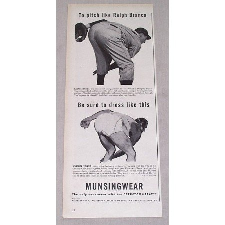 1946 Munsingwear Print Ad Dodgers Baseball Celebrity Ralph Branca