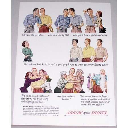 1948 Arrow Sports Shirts Color Print Ad - Being Irresistible