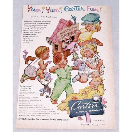 1954 Carter's Childrens Clothing Color Art Print Ad - Yum Yum Carter Fun