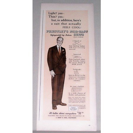 1940 Priestley's Nor-East Suits Color Print Ad