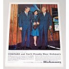 1960 Richman's Mens Wear Suit Color Print Ad