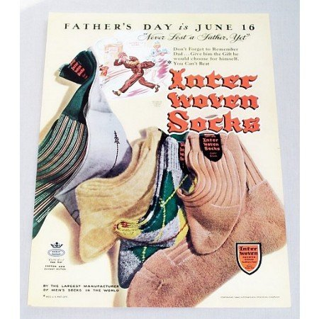 1946 Inter Woven Socks Color Print Ad - Never Lost A Father Yet