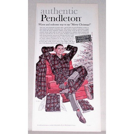 1961 Pendleton Lounge Robe Color Art Print Ad