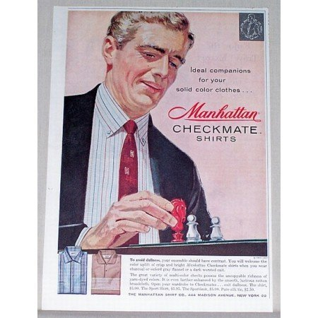 1957 Manhattan Checkmate Shirts Chess Art Color Print Ad
