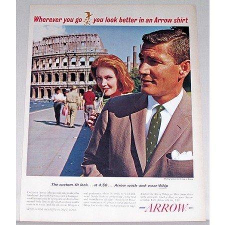1962 Arrow Whip Shirts Rome Coliseum Color Print Ad