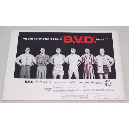1956 B.V.D. Men's Wear Print Ad - Next To Myself....
