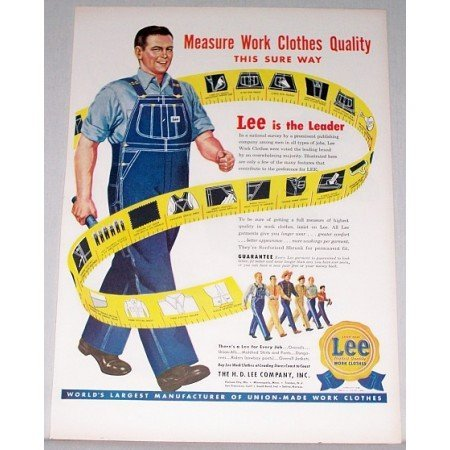 1948 Lee Work Clothes Bib Overalls Color Art Print Ad