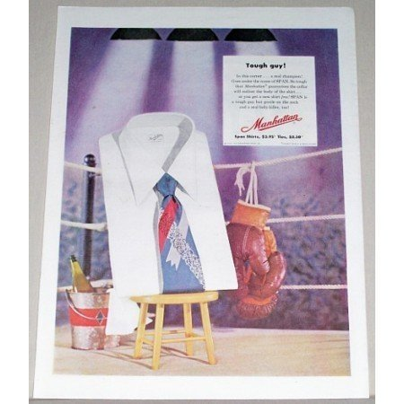 1952 Manhattan Span Shirts Boxing Gloves Ring Color Print Ad - Tough Guy