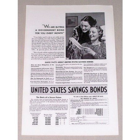 1937 United States Savings Bonds Print Ad