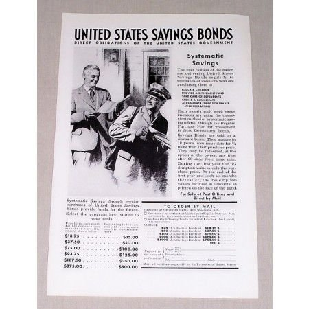 1937 United States Savings Bonds Print Ad - Systematic Savings