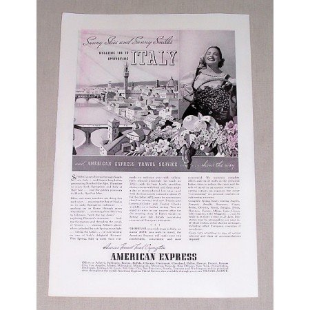 1937 American Express Italy Vacation Print Ad