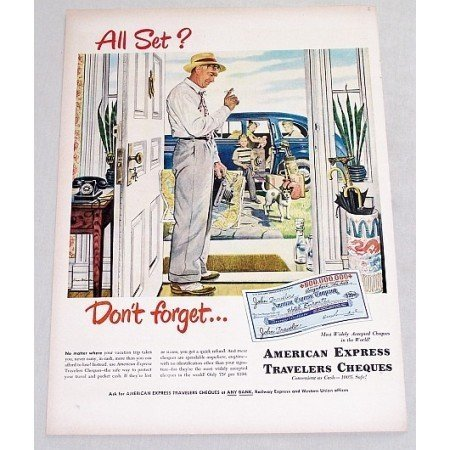 1949 American Express Travelers Cheques Color Art Print Ad