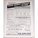 1956 UBS Stock Market Outlook Annual Forecast Offer Print Ad