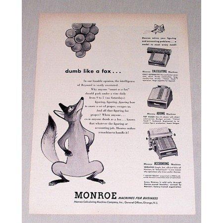 1949 Monroe Calculating Machines Fox Animal Art Print Ad - Dumb Like A Fox