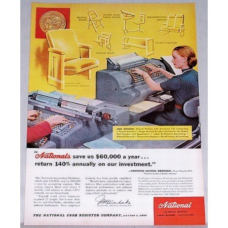 1953 National Accounting Machine Color Print Ad - Jobs Handled
