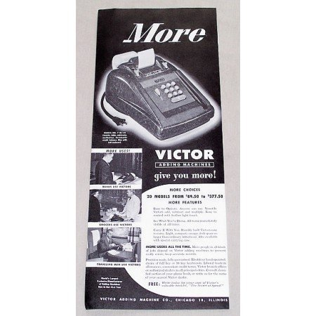 1949 Victor Model No. 7-83-54 Adding Machines Print Ad