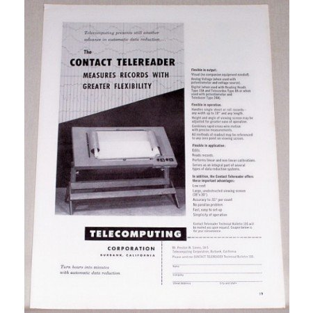 1953 Contact Telereader Data Reduction Print Ad