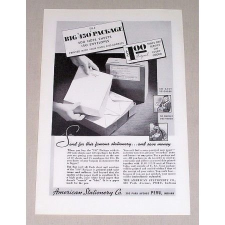 1937 American Stationery Co. 450 Package Sheets Print Ad