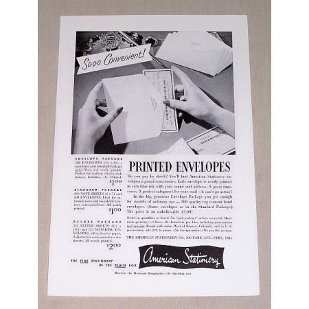 1955 American Stationery Printed Envelopes Print Ad