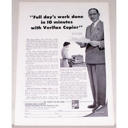 1955 Kodak Verifax Copier Print Ad - Full Day's Work