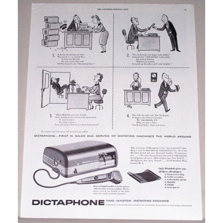 1955 Dictaphone Time Master Dictating Machine Print Ad
