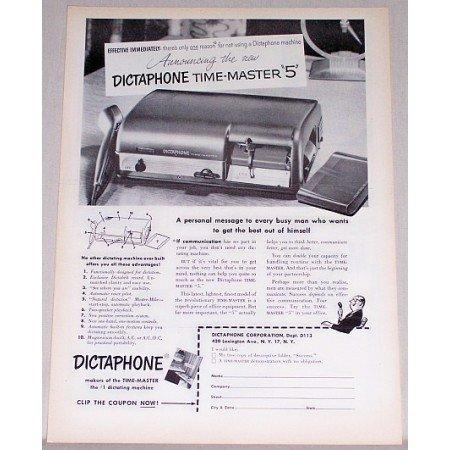 1953 Dictaphone Time Master 5 Dictating Machine Print Ad