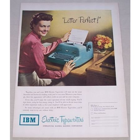 1950 IBM Electric Typewriter Color Print Ad - Letter Perfect