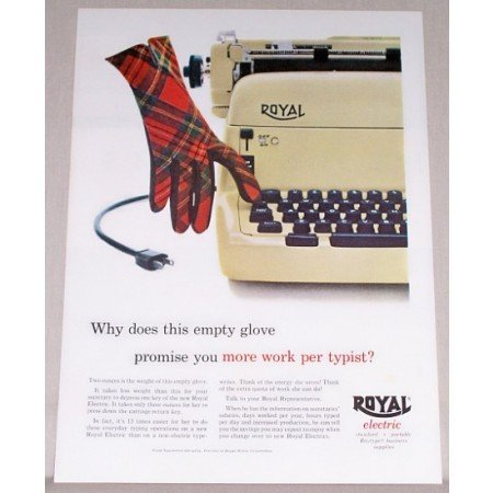 1955 Royal Electric Typewriter Plaid Glove Color Print Ad