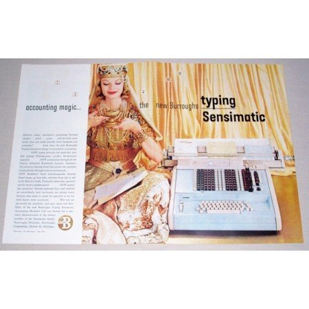 1957 Burroughs Sensimatic Typewriter 2 Page Color Print Ad
