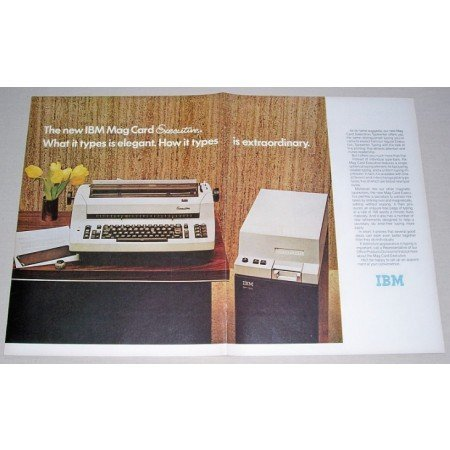 1972 IBM Mag Card Executive Typewriter 2 Page Color Print Ad