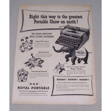 1949 Royal Portable Typewriter Circus Clowns Elephant Animal Art Print Ad