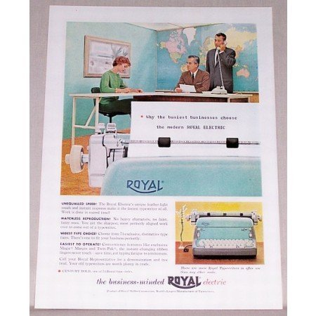 1959 Royal Electric Typewriter Color Print Ad