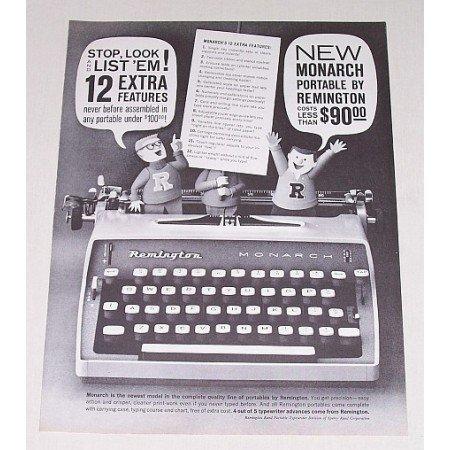 1961 Remington Rand Monarch Portable Typewriter Print Ad