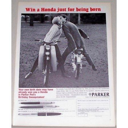 1965 Parker Pens Print Ad with Honda C-110 CA-102 Motorcycles