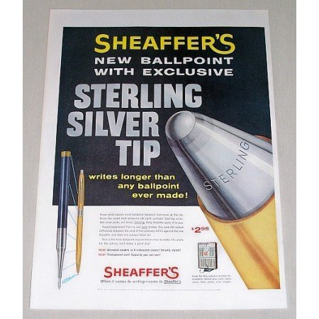 1957 Sheaffer's Ballpoint Pen Sterling Silver Tip Color Print Ad