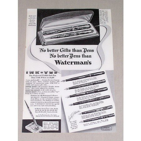 1936 Waterman's Visible Ink Pen Set Print Ad